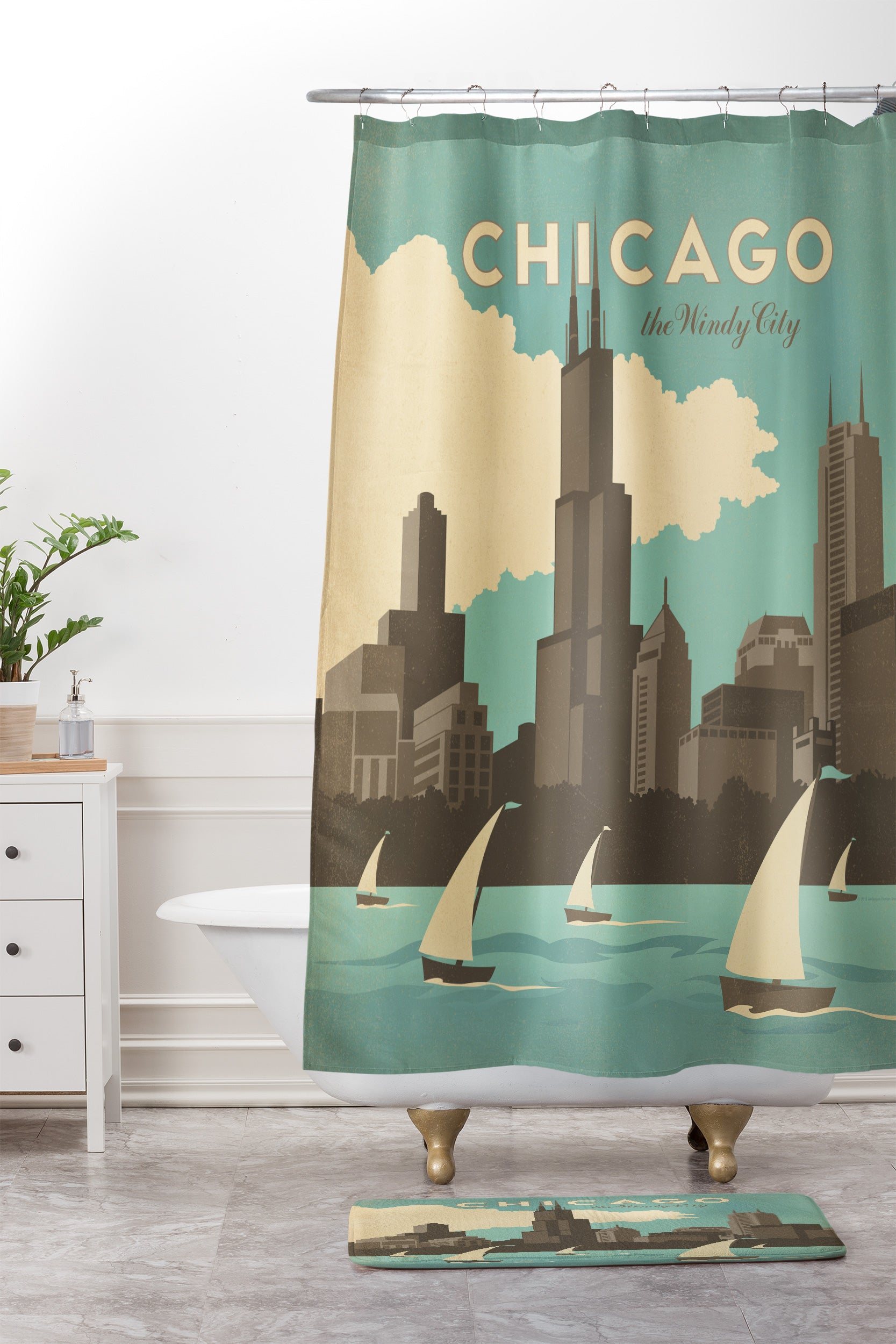 Anderson Design Group Chicago Shower Curtain And Mat