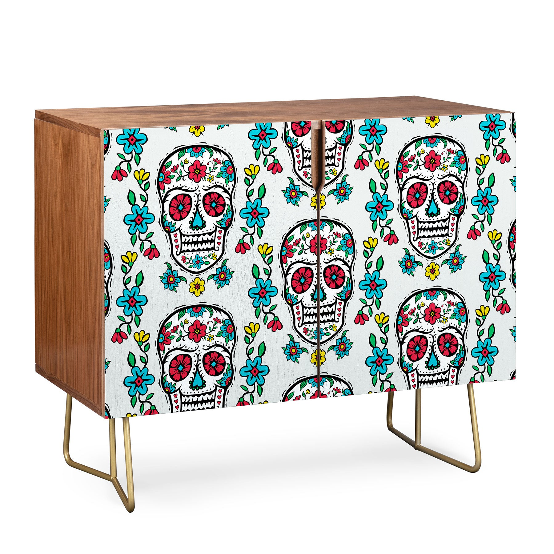 Andi Bird Sugar Skull Tattoo Slate Credenza
