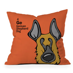 Angry Squirrel Studio German Shepard Dog 4 Throw Pillow