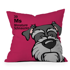 Angry Squirrel Studio Miniature Schnauzer 39 Throw Pillow