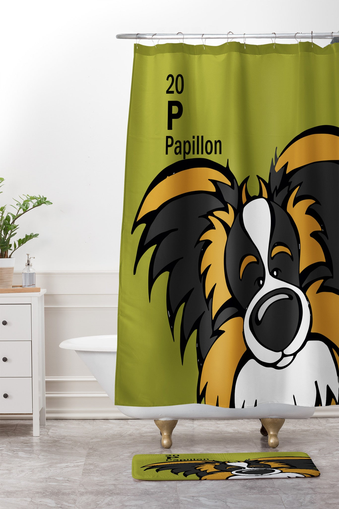 Angry Squirrel Studio Papillon 20 Shower Curtain And Mat
