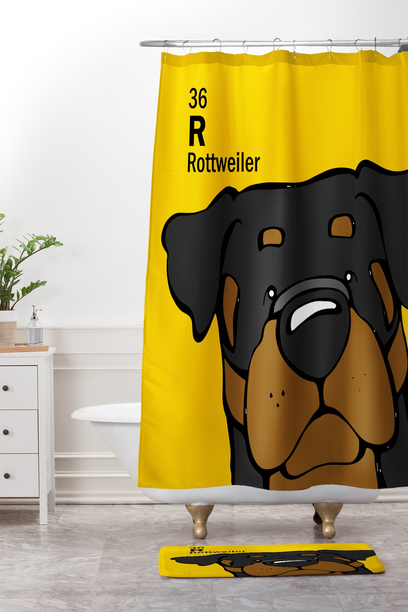 Angry Squirrel Studio Rottweiler 36 Shower Curtain And Mat