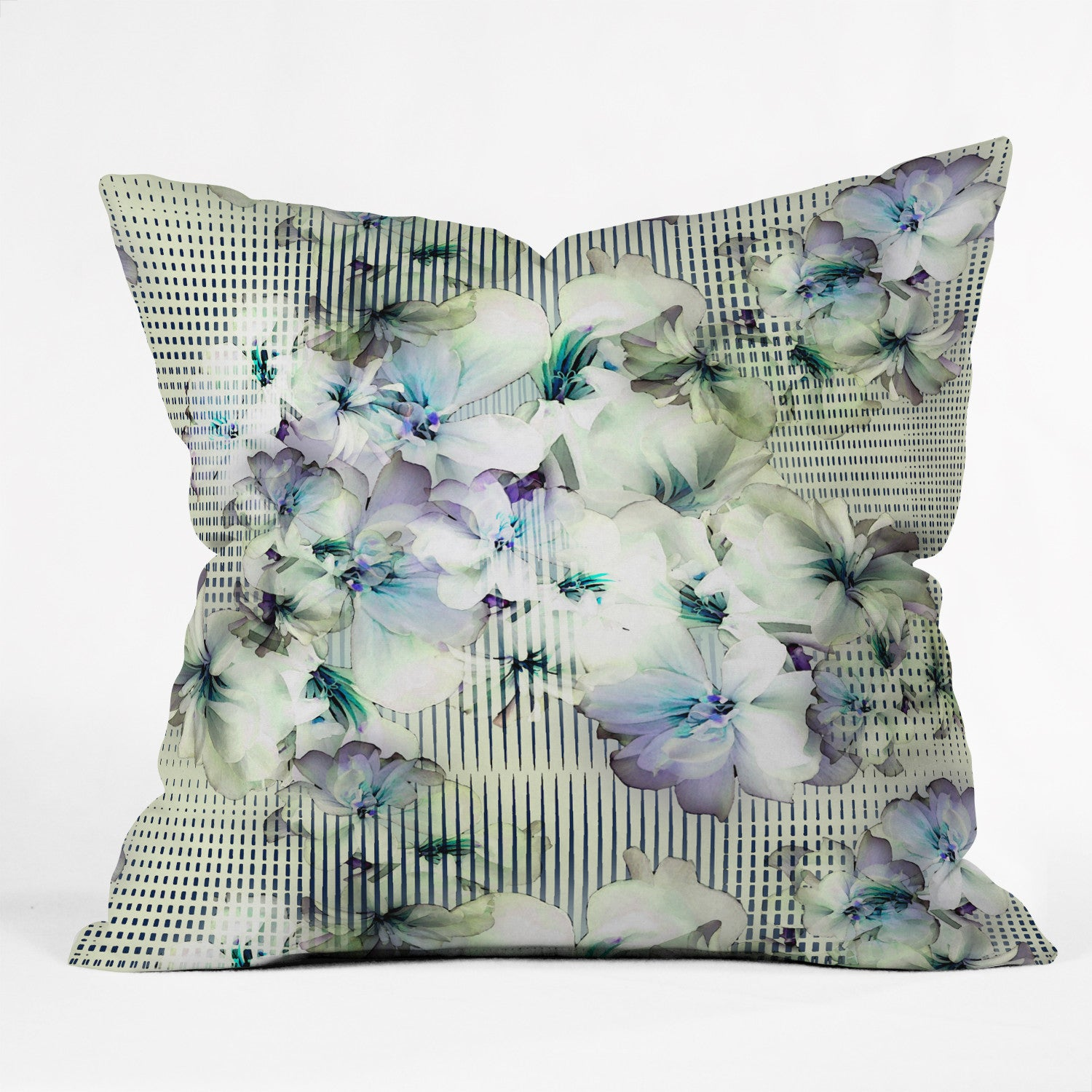 Bel Lefosse Design Flowers And Lines Outdoor Throw Pillow