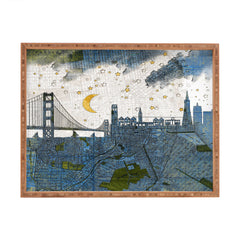 Belle13 San Francisco Starry Night Rectangular Tray