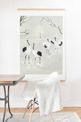 Belle13 Winter Love Dance Of Japanese Cranes Art Print And Hanger