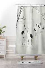 Belle13 Winter Love Dance Of Japanese Cranes Shower Curtain And Mat