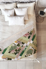 Bianca Green Cubed Vintage Botanicals Fleece Throw Blanket
