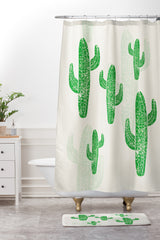 Bianca Green Linocut Cacti 2 Shower Curtain And Mat