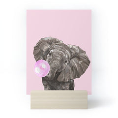 Big Nose Work Baby Elephant Blowing Bubble Mini Art Print