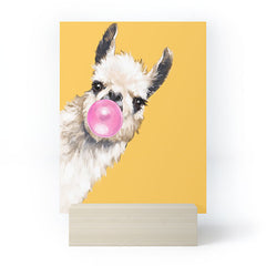 Big Nose Work Bubblegum Sneaky Llama Yellow Mini Art Print