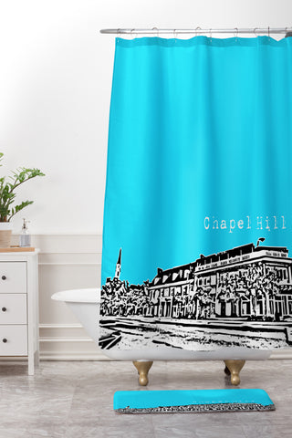 Bird Ave Chapel Hill Blue Shower Curtain And Mat