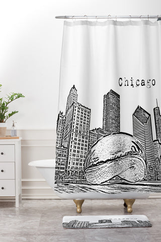 Chicago Illinois Black And White Shower Curtain Mat Bird Ave