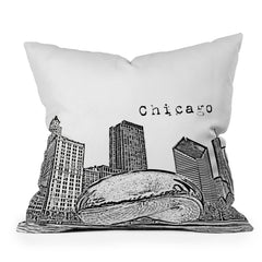 Bird Ave Chicago Illinois Black and White Throw Pillow