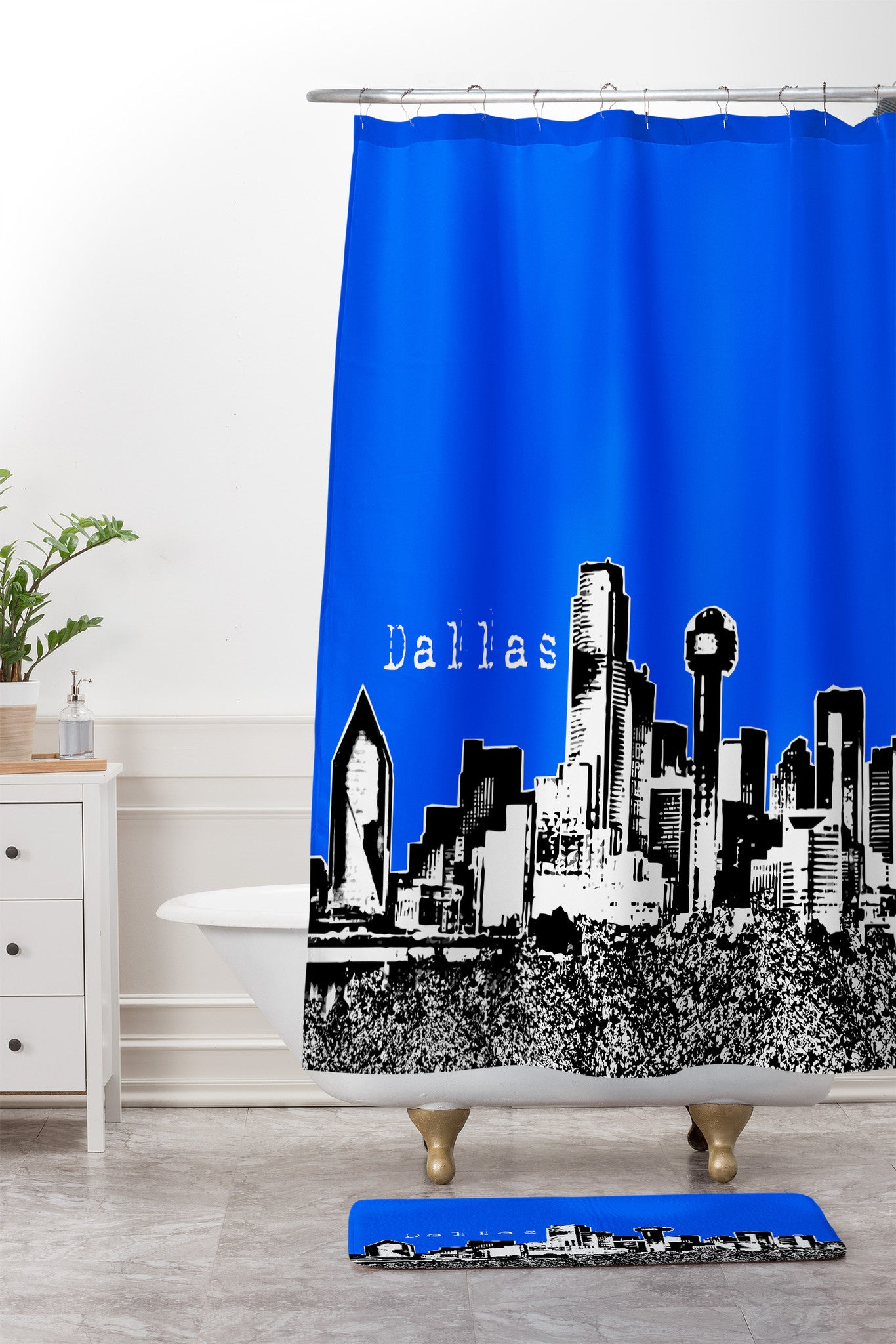 Bird Ave Dallas Royal Shower Curtain And Mat