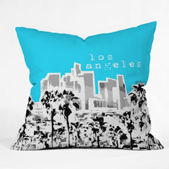 Bird Ave Los Angeles Aqua Outdoor Throw Pillow