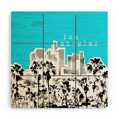 Bird Ave Los Angeles Aqua Wood Wall Mural
