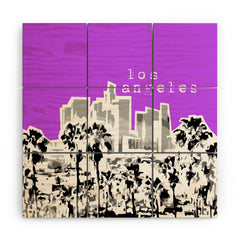 Bird Ave Los Angeles Purple Wood Wall Mural