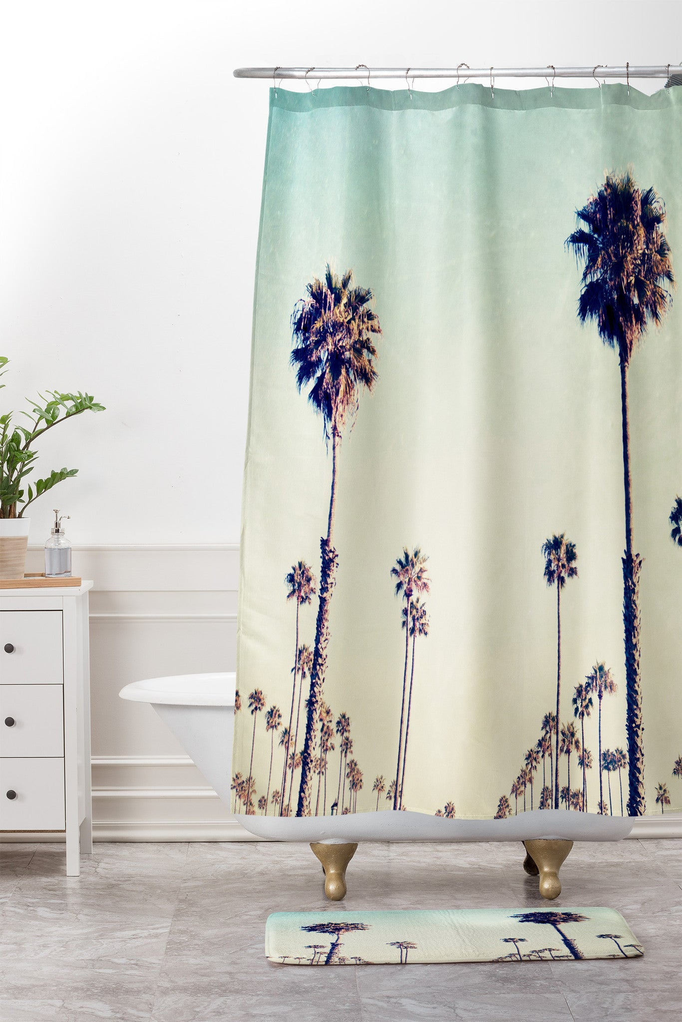 Bree Madden California Palm Trees Shower Curtain And Mat