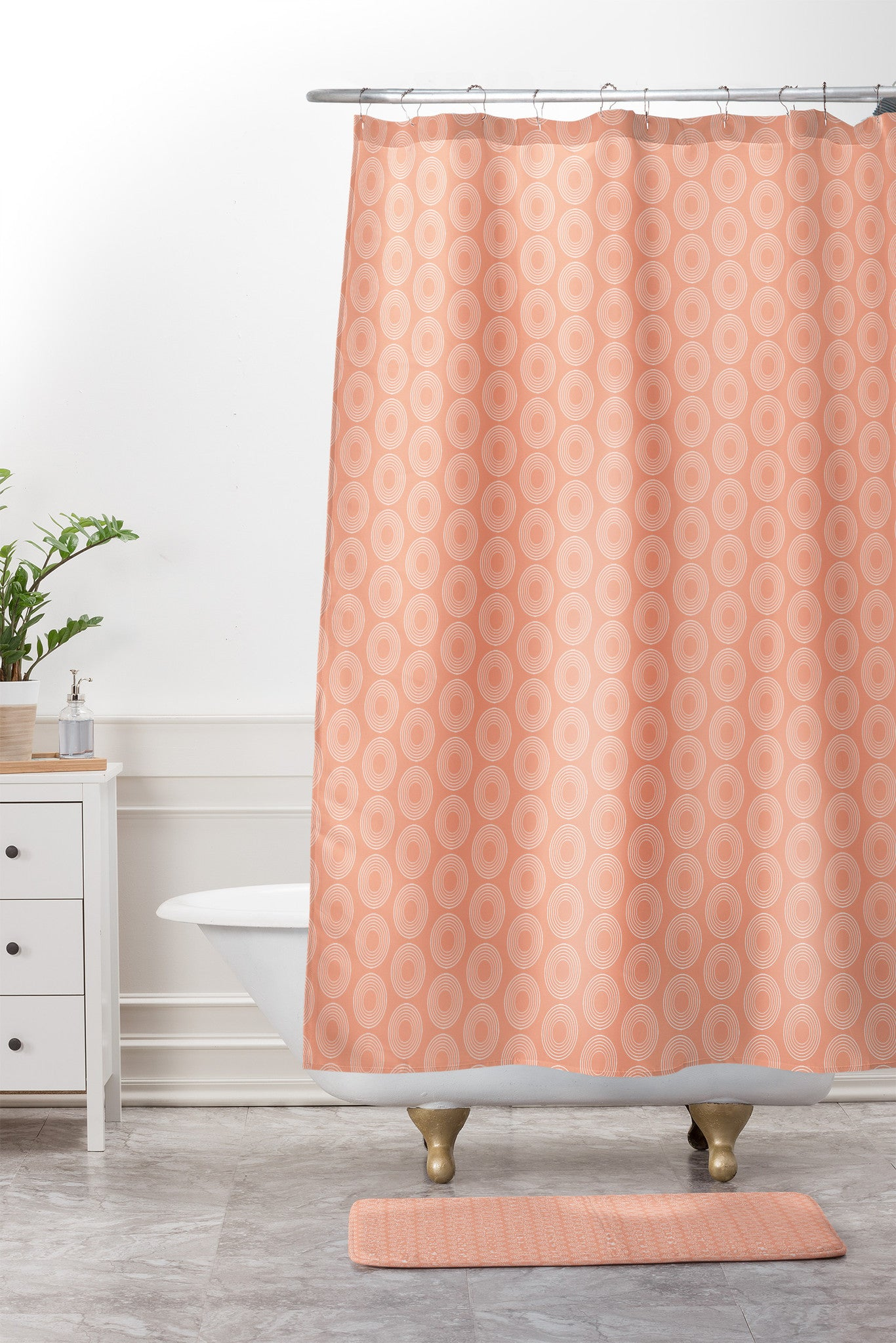 Caroline Okun Mod Pink Circles Shower Curtain And Mat