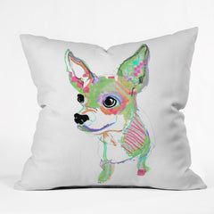 Casey Rogers Chihuahua Multi Outdoor Throw Pillow