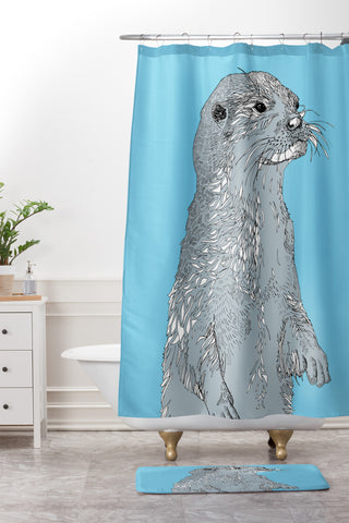 Otter Shower Curtain And Mat Casey Rogers