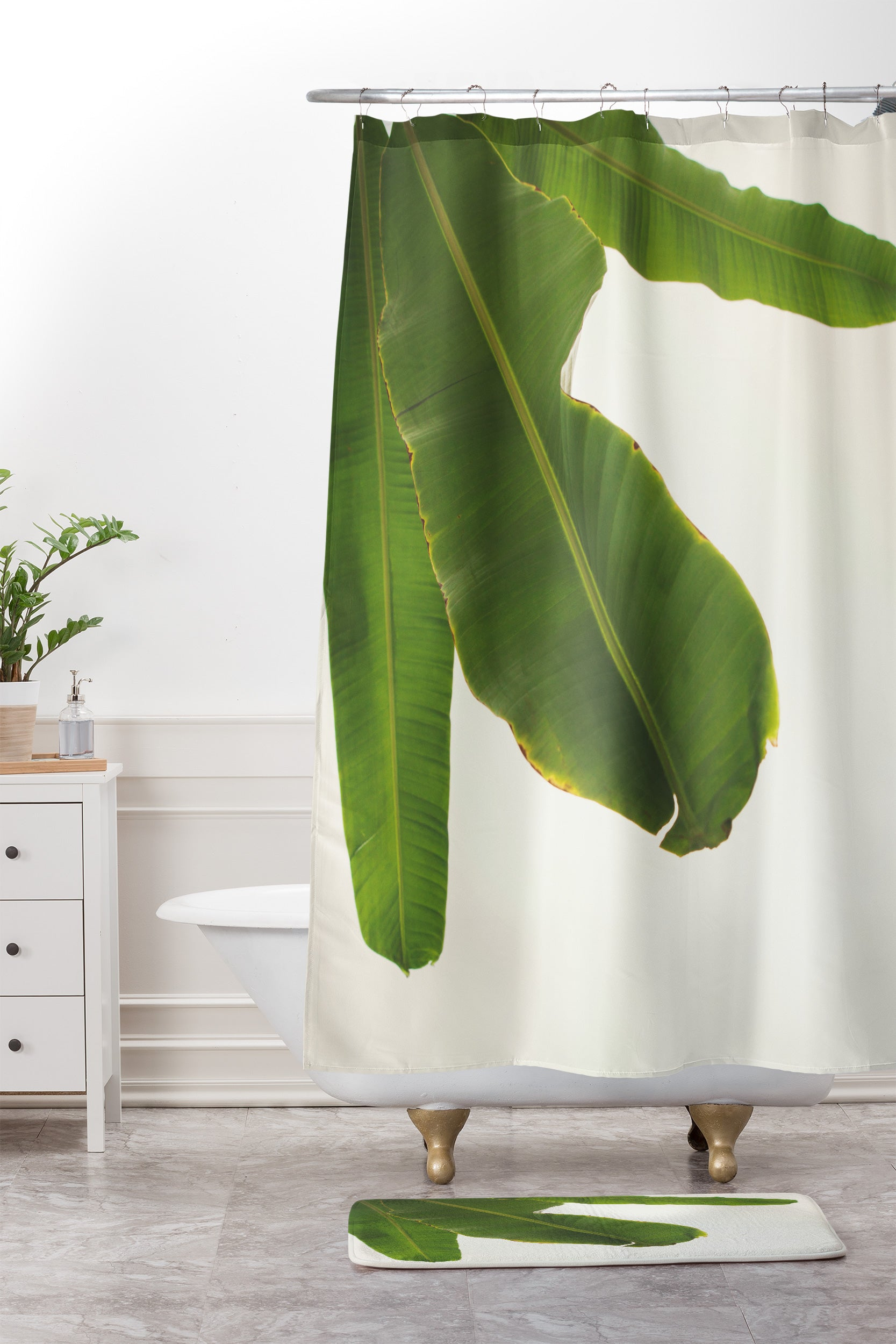 Tropical Banana Leaves Shower Curtain And Mat Catherine Mcdonald