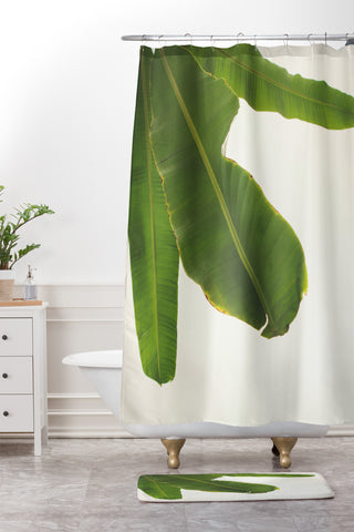 Catherine Mcdonald Tropical Banana Leaves Shower Curtain And Mat