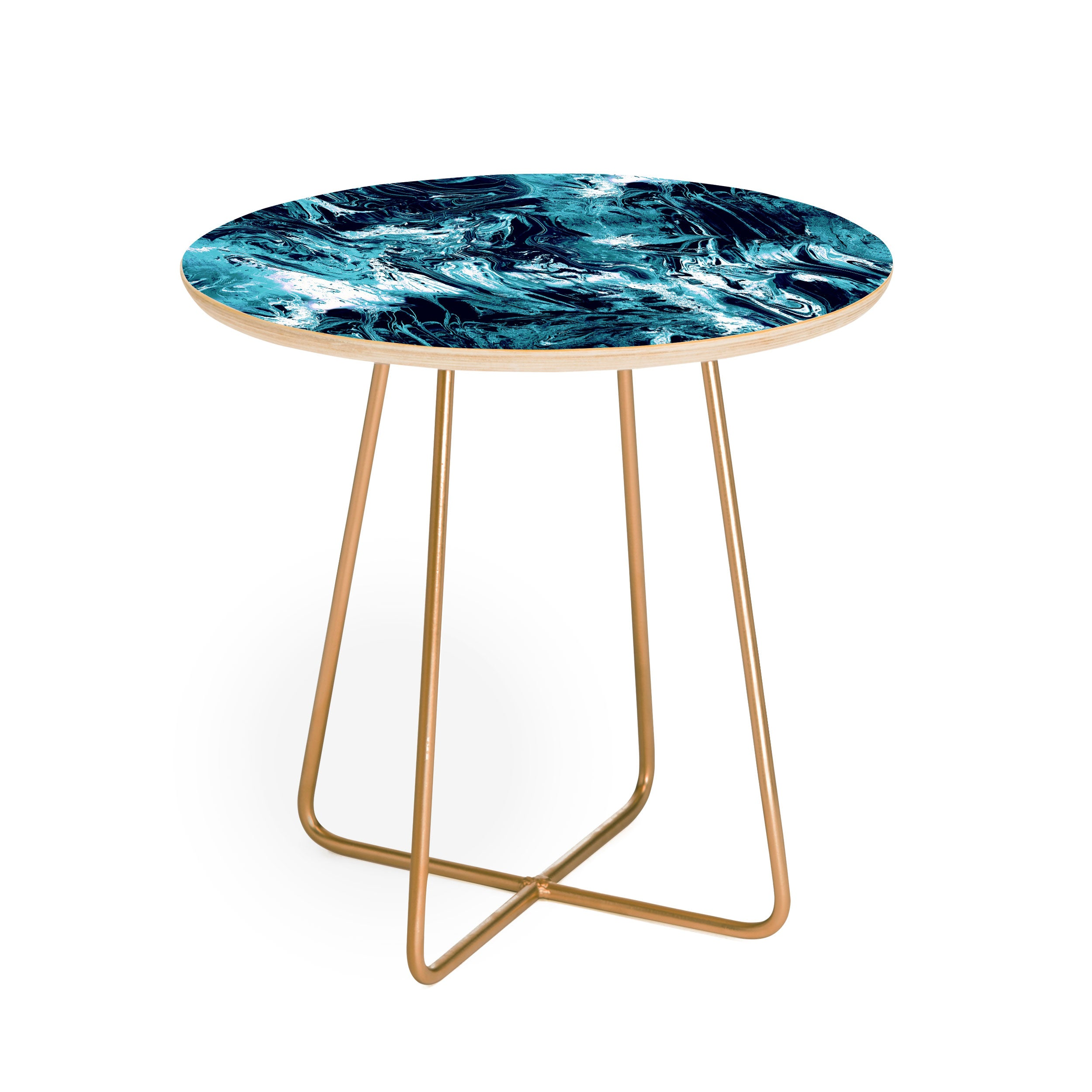 CayenaBlanca Blue Marble Round Side Table