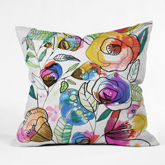 CayenaBlanca Coloured Flowers Outdoor Throw Pillow