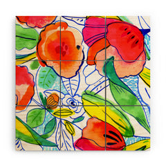 CayenaBlanca Ink Flowers Wood Wall Mural