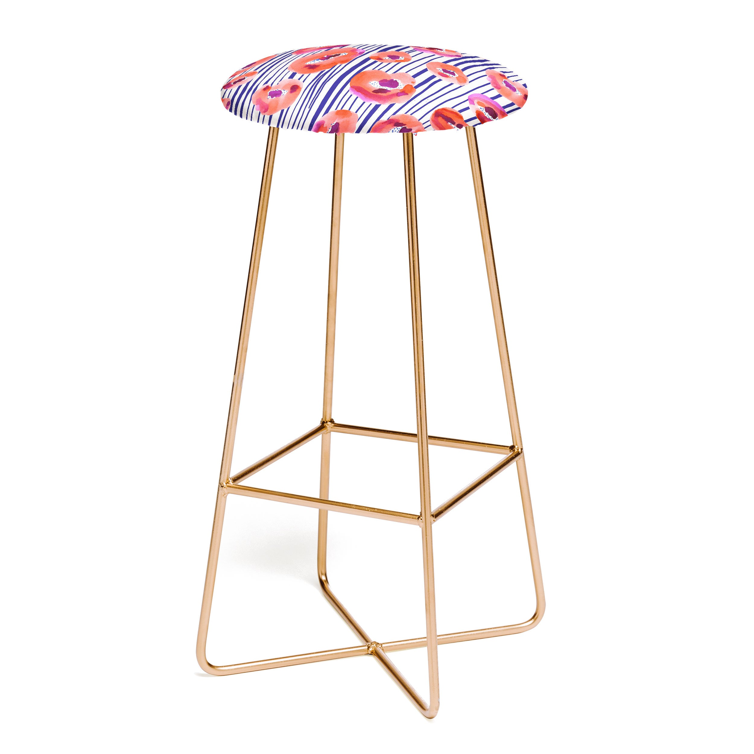 CayenaBlanca Peonies and stripes Bar Stool