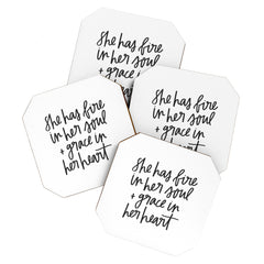 Chelcey Tate Grace In Her Heart BW Coaster Set