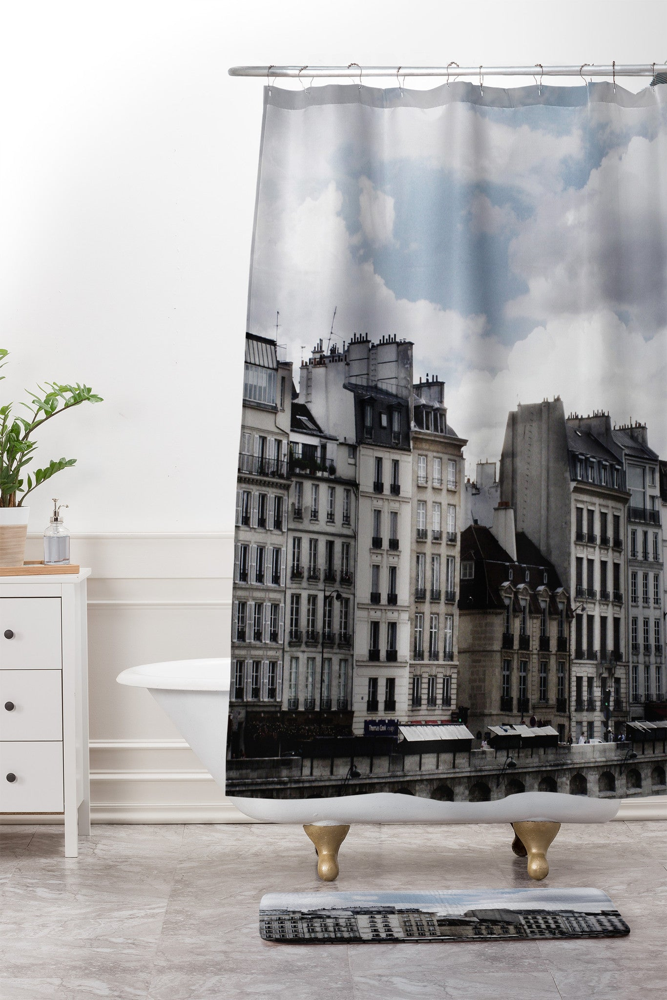 Chelsea Victoria Parisian Rooftops Shower Curtain And Mat