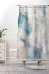 Chelsea Victoria Unicorn Marble Shower Curtain And Mat