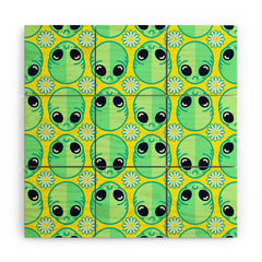 Chobopop Sad Alien And Daisy Pattern Wood Wall Mural