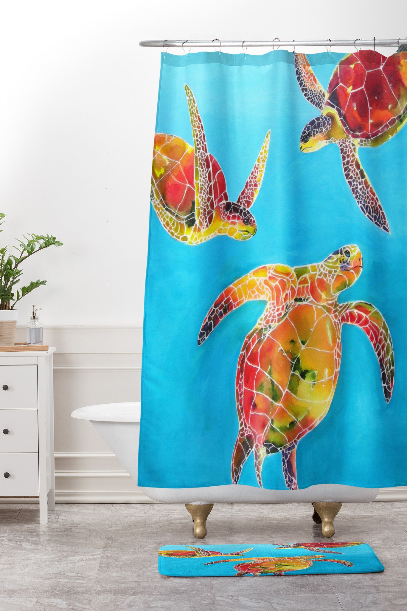Tie Dye Sea Turtles Shower Curtain And Mat By Clara Nilles