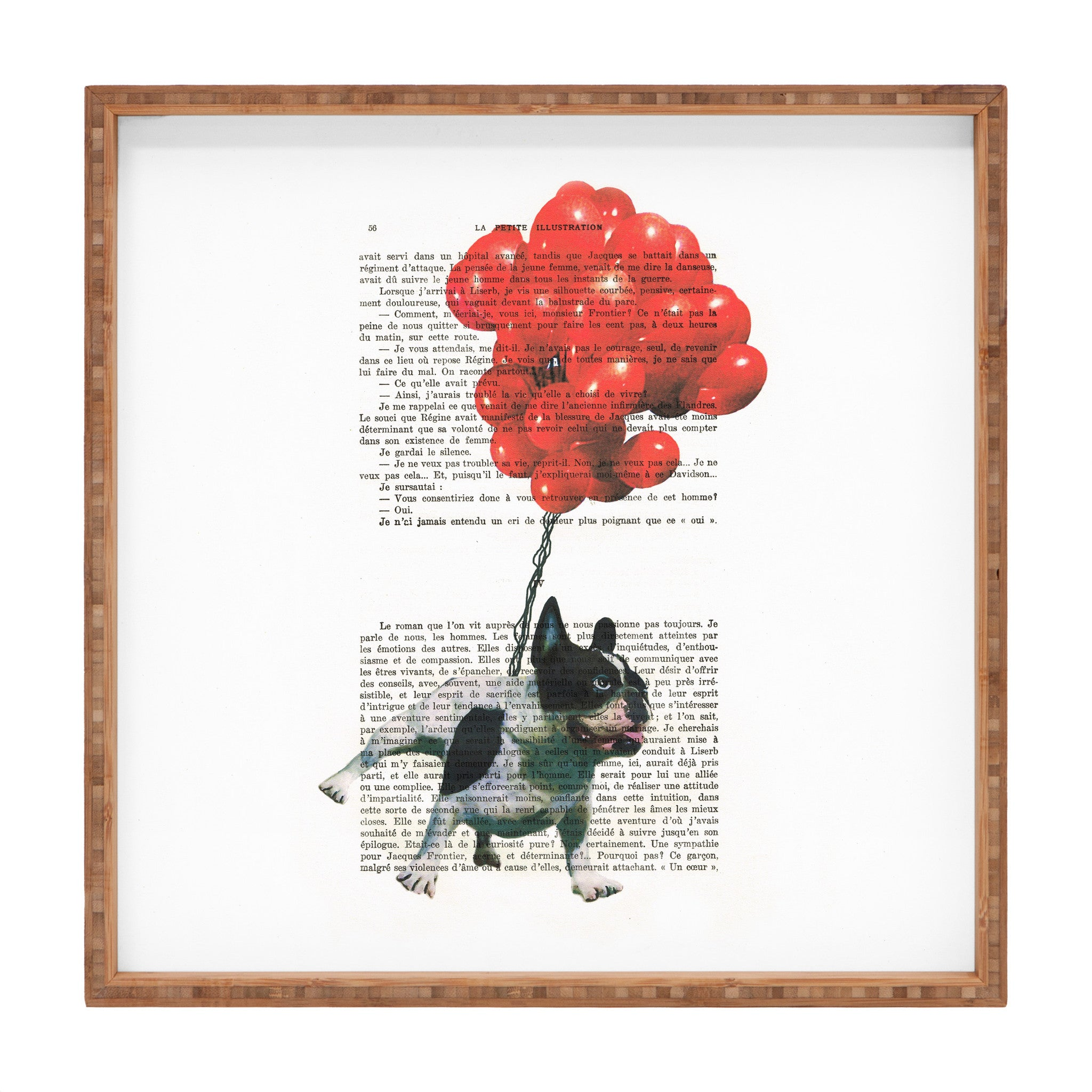 Coco de Paris Bulldog flying with red balloons Square Tray