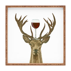 Coco de Paris Deer with wineglass Square Tray