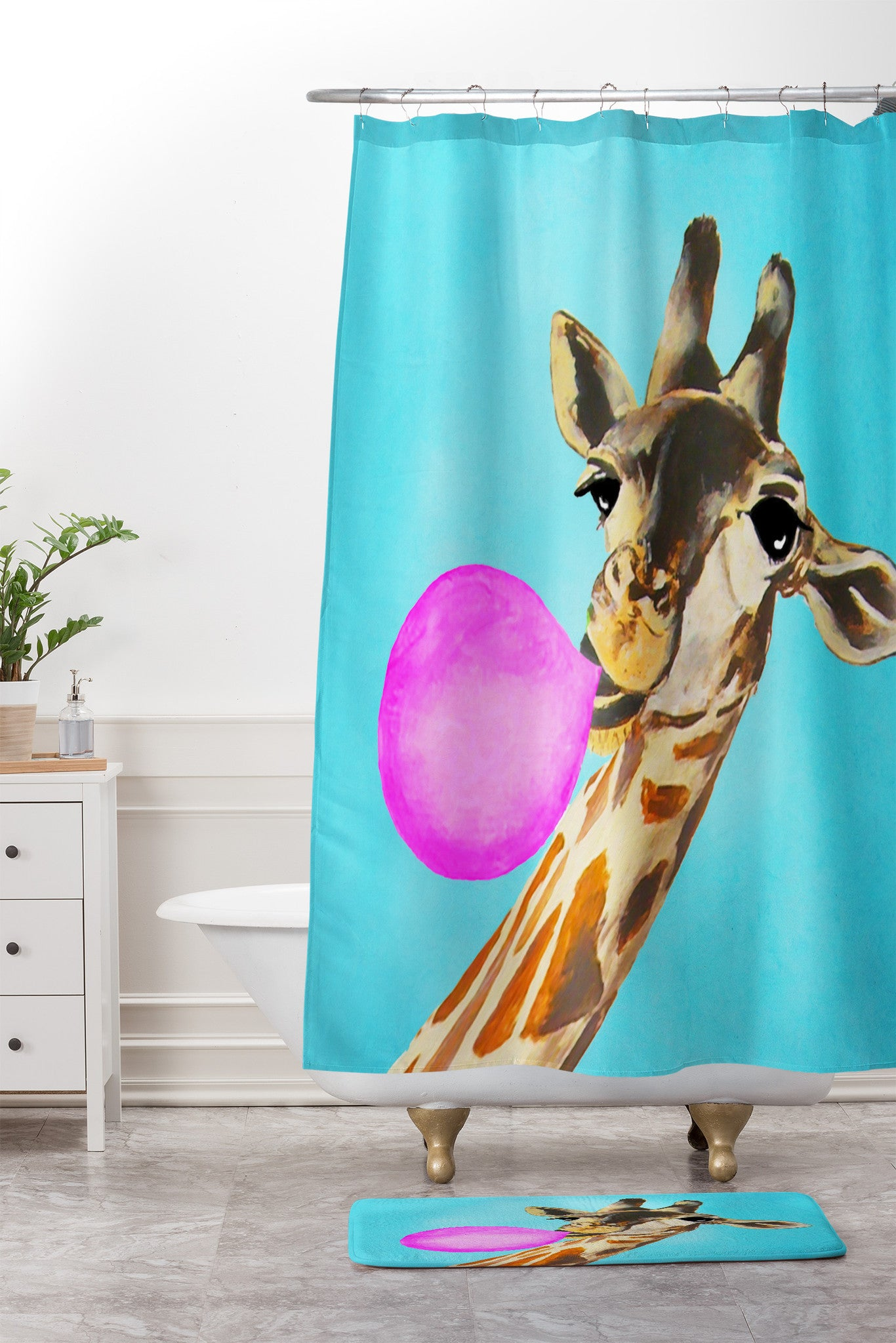 Coco De Paris Giraffe Blowing Bubblegum Shower Curtain And Mat