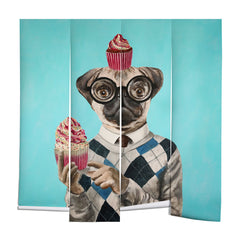 Coco de Paris Pug with cupcakes Wall Mural