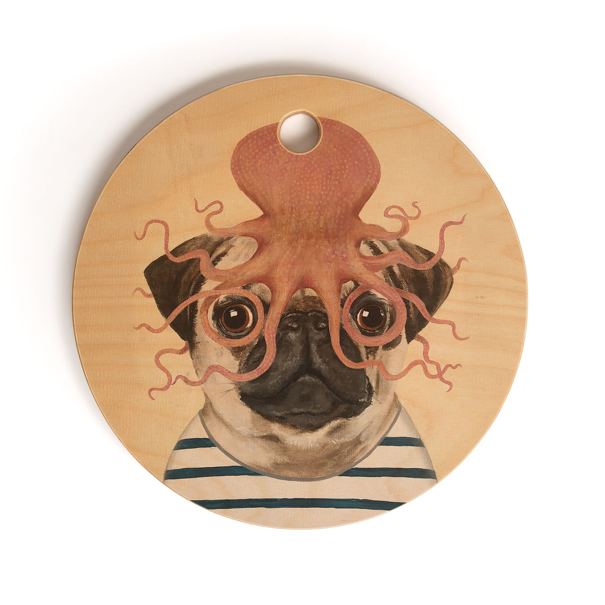 Coco de Paris Pug with octopus Cutting Board Round