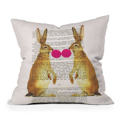 Coco de Paris Rabbits With Bubblegum 1 Throw Pillow