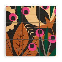 CocoDes Nocturnal Floral Garden Wood Wall Mural