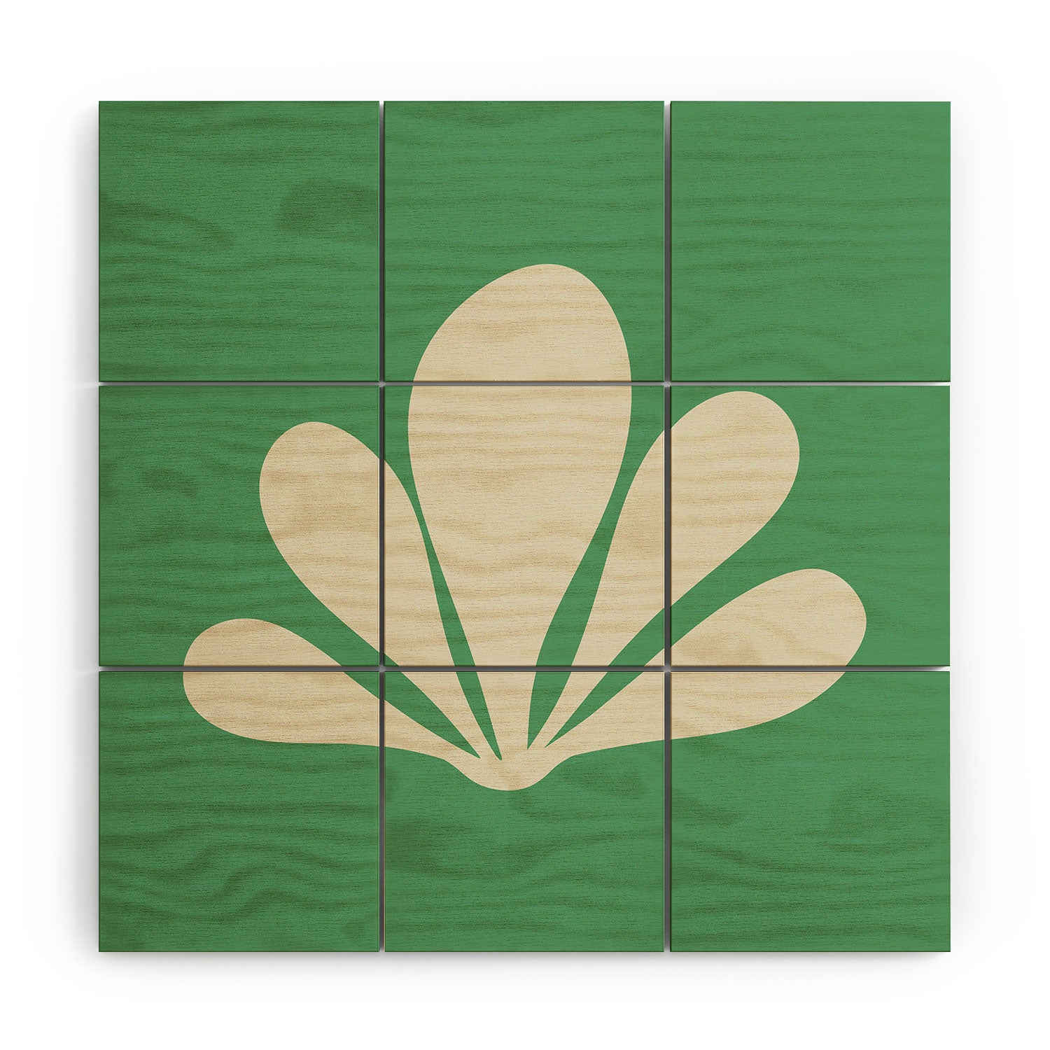 Colour Poems Minimal Tropical Plant Green Wood Wall Mural