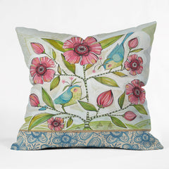 Cori Dantini Blue Birds Of Happiness Outdoor Throw Pillow