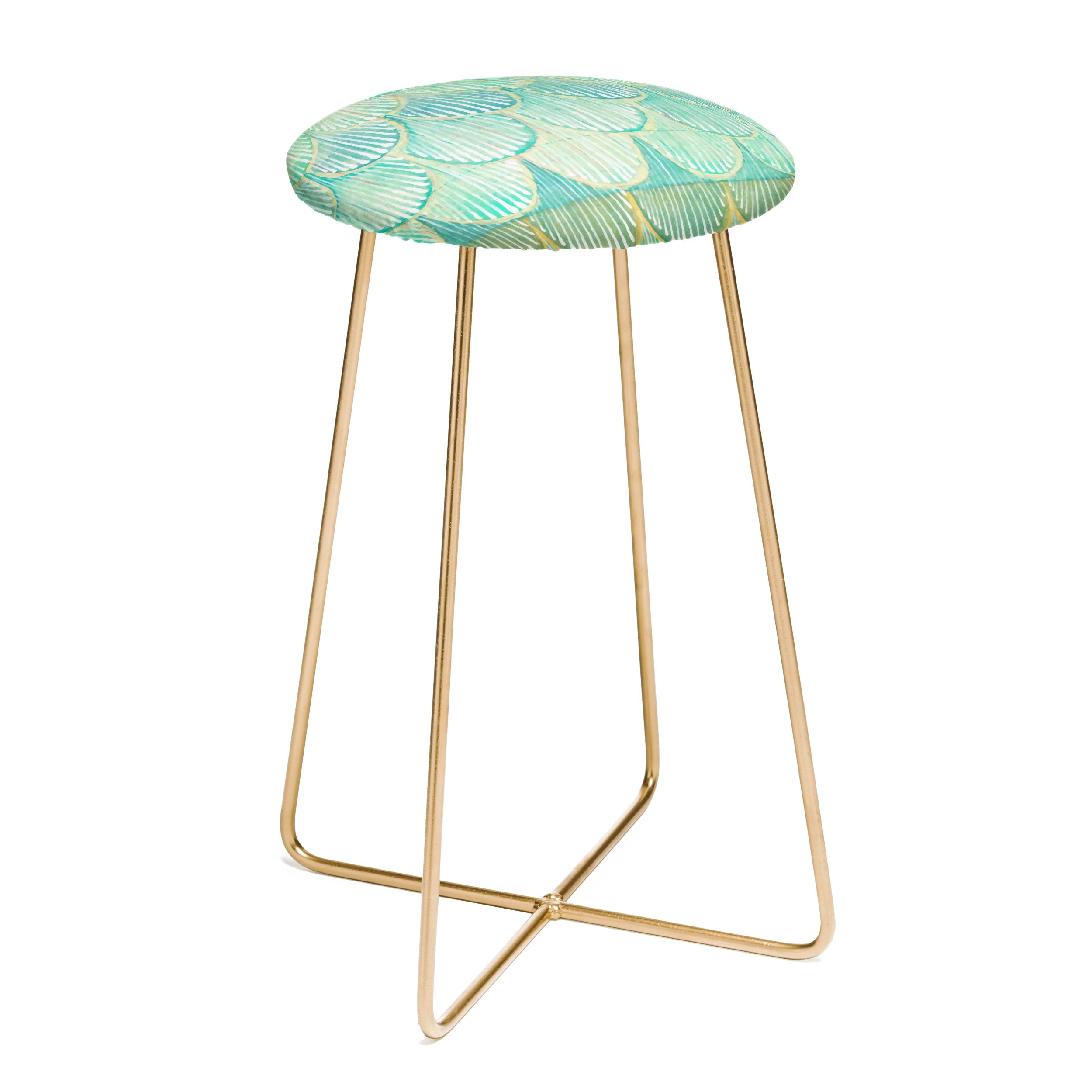 Cori Dantini Turquoise Scallops Counter Stool