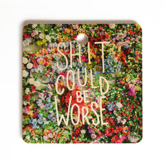 Craft Boner Shit could be worse floral typography Cutting Board Square