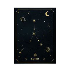 Cuss Yeah Designs Cancer Constellation in Gold Poster