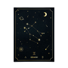 Cuss Yeah Designs Gemini Constellation in Gold Poster