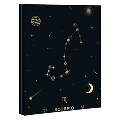 Cuss Yeah Designs Scorpio Constellation in Gold Art Canvas